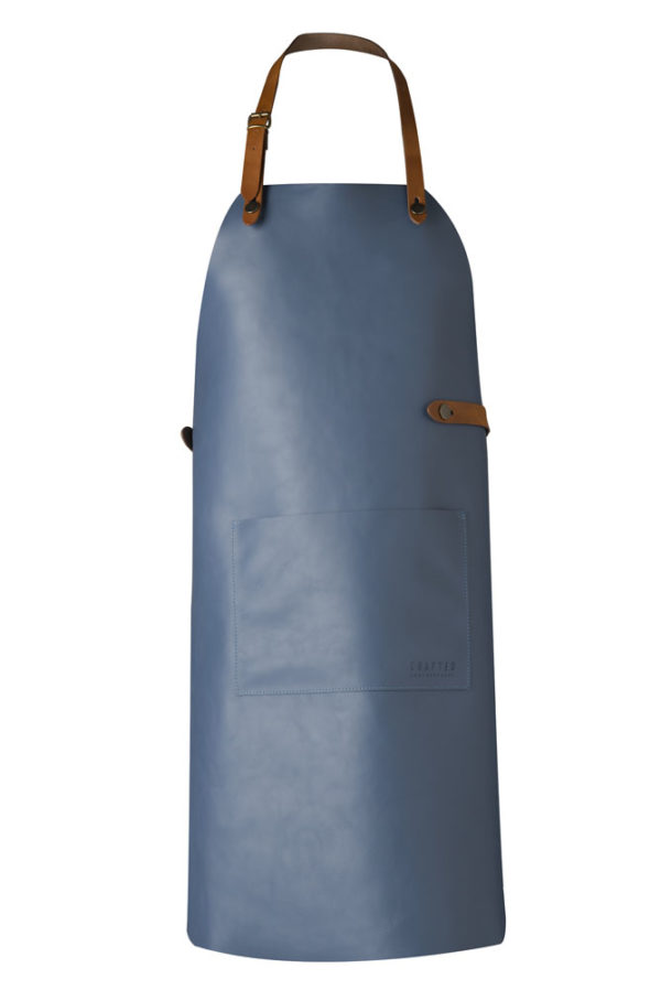 classic leather apron blue