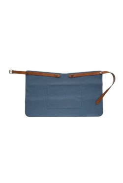 classic leather apron short with pocket blue