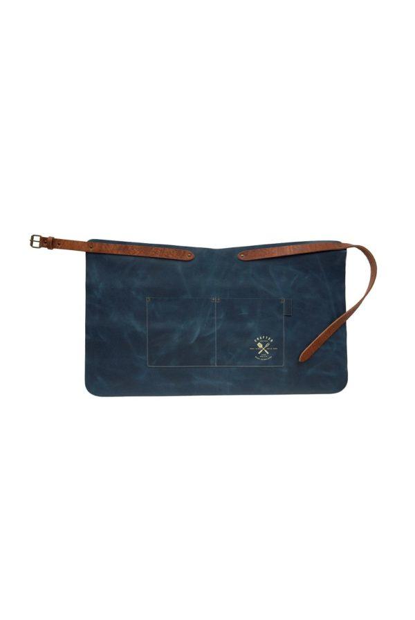 leather apron short blue