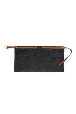 washed canvas apron short with pocket black