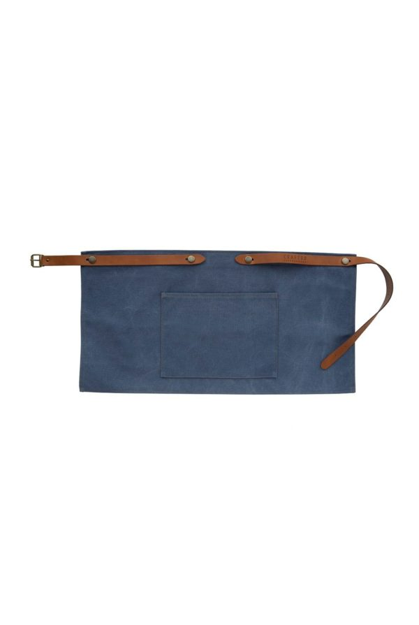 washed canvas apron short with pocket blue