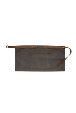 washed canvas apron short with pocket grey