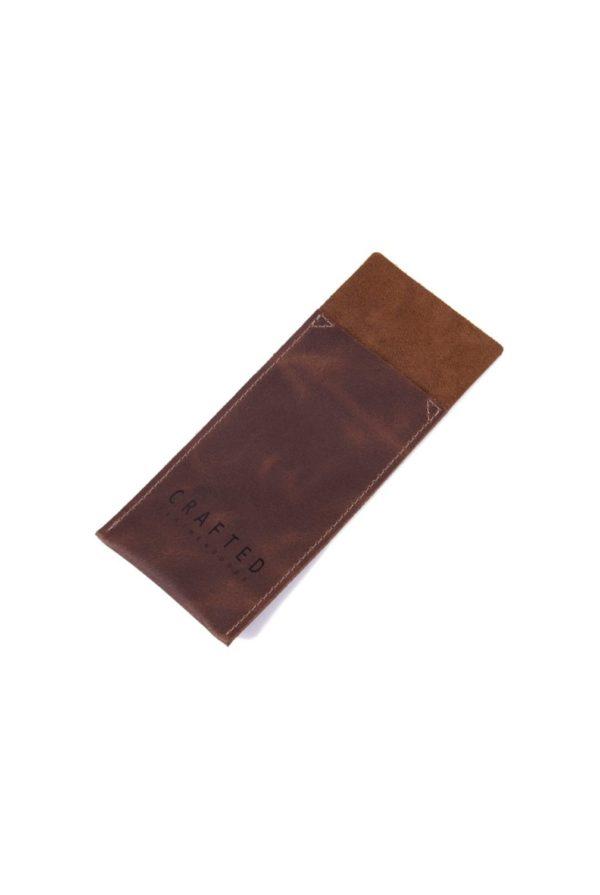 leather cutlery pocket cognac