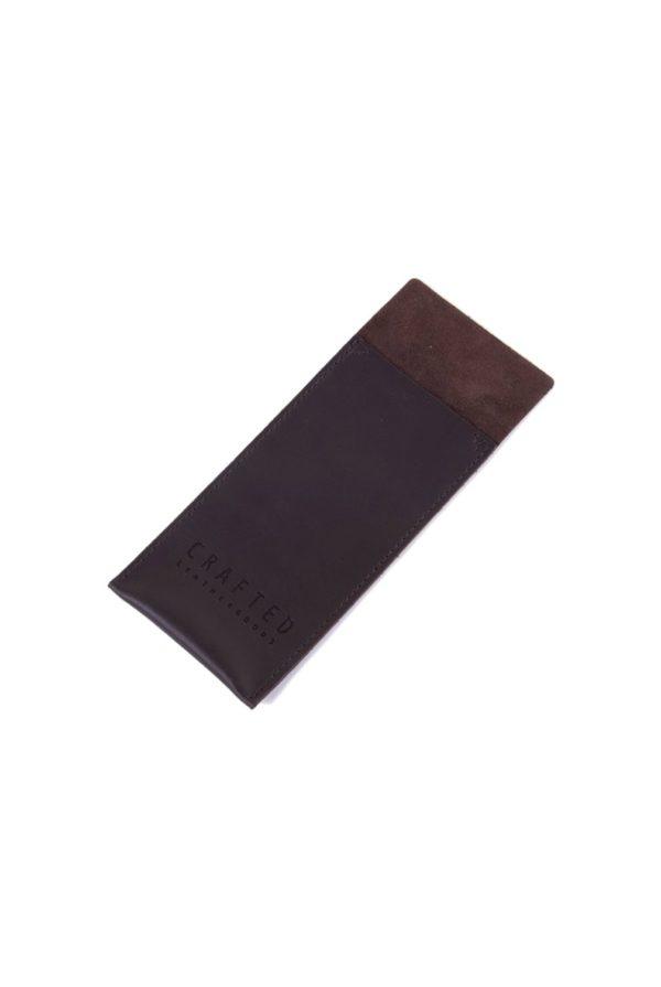 leather cutlery pocket dark brown