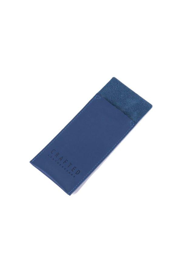 leather cutlery pocket light blue