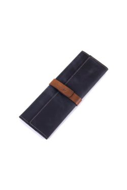 leather cutlery roll black