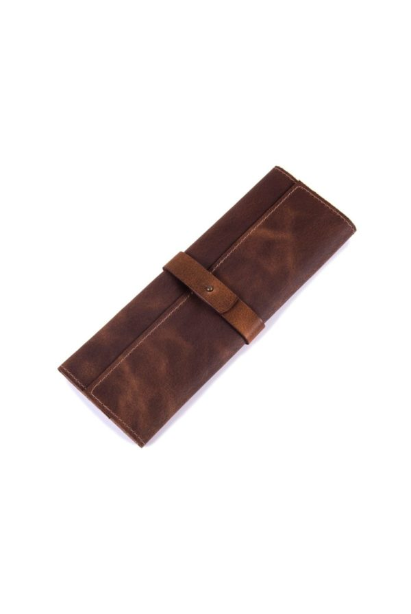 leather cutlery roll cognac