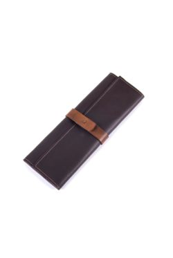 leather cutlery roll dark brown