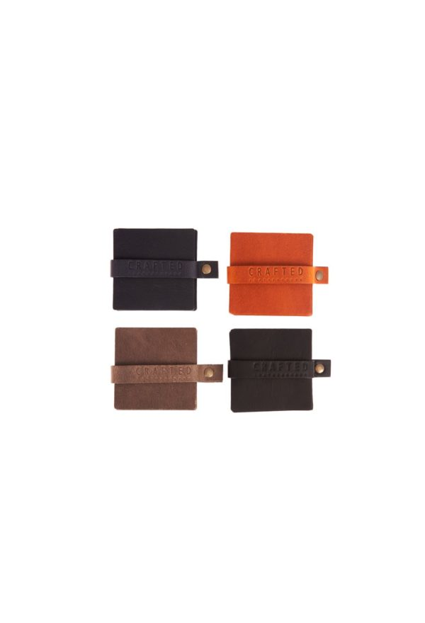leather coaster square
