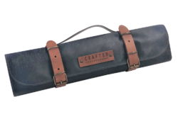 leather knife roll black