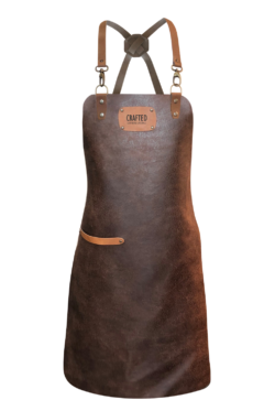 leather x-strap apron brown