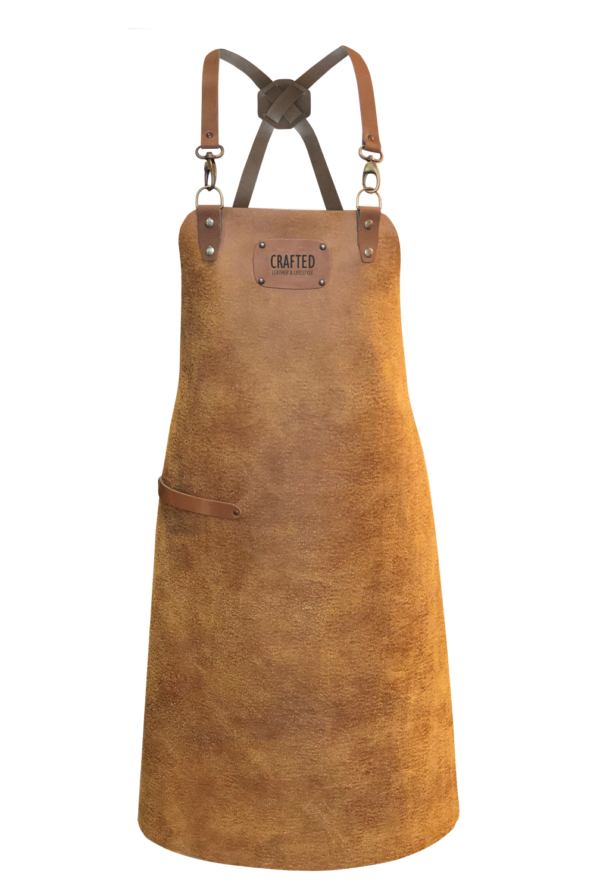 leather x-strap apron sand